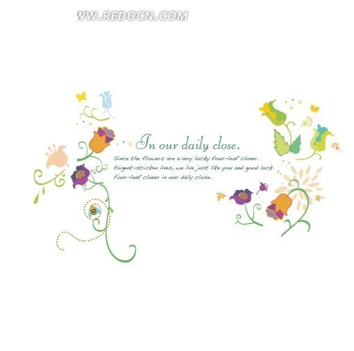 手绘花朵卷纹叶子背景