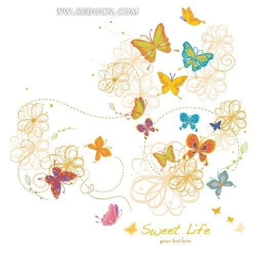 免费素材 矢量素材 花纹边框 花纹花边 手绘花朵和彩色蝴蝶插画