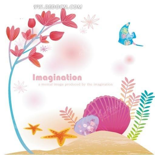 卡通画扇贝鱼和章鱼以及海星和蓝色不思议博士枝条小怪图片