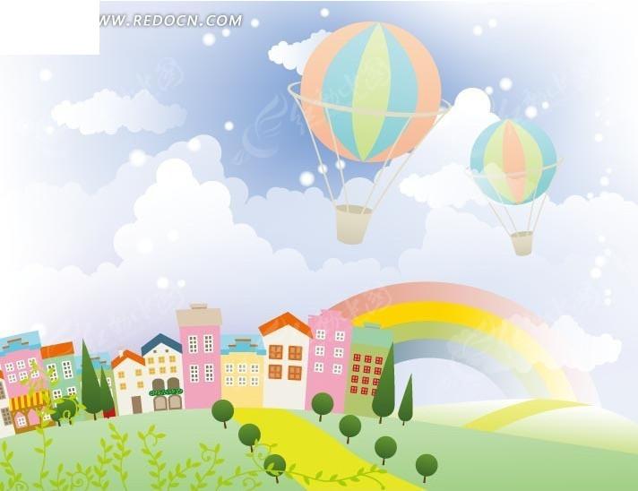 卡通画—草地上的绿树彩色房屋和空中的热气球