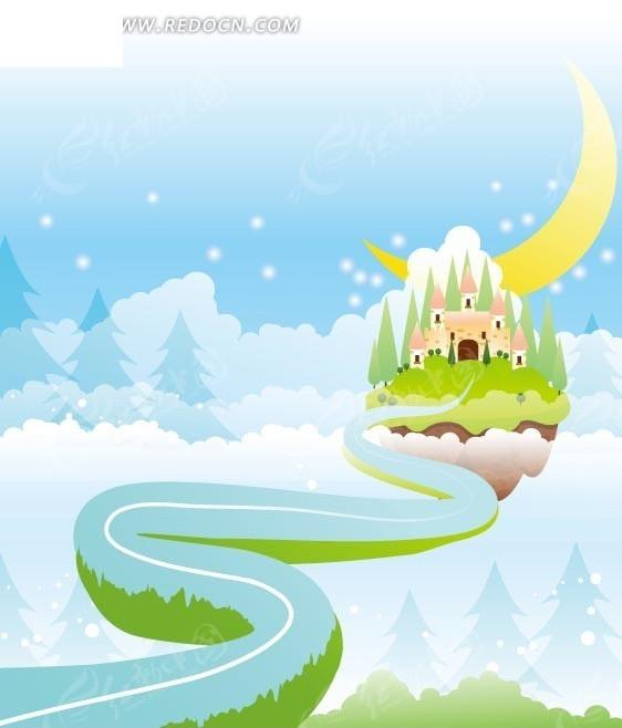 卡通画—大雪下的树林和弯曲道路前的城堡