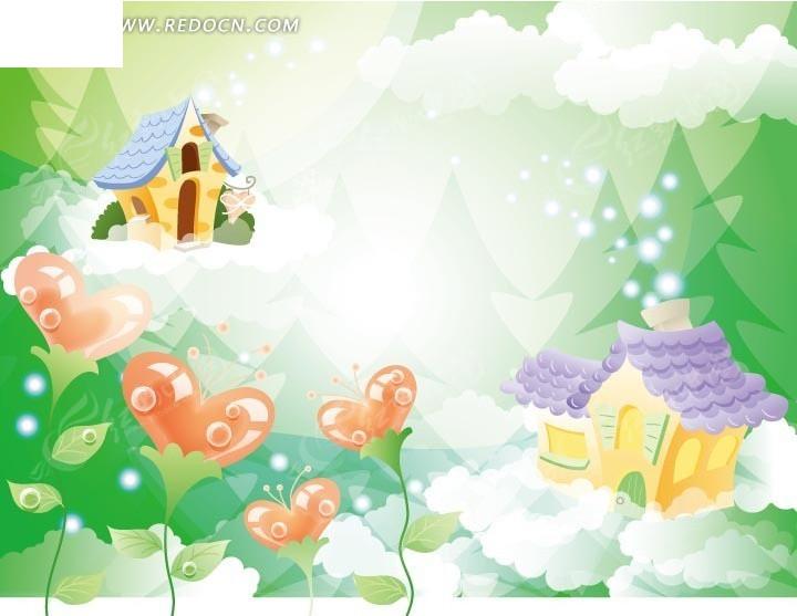 卡通画—树林里的心形植物和云朵上的房屋