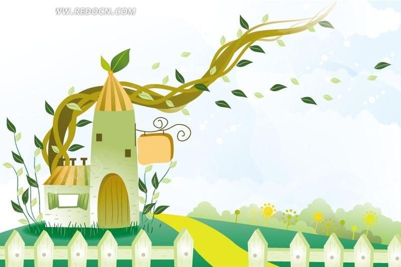 卡通画 草地 篱笆 绿叶 叶子 蓝天白云 藤蔓 房屋 插画 印花图案 矢量