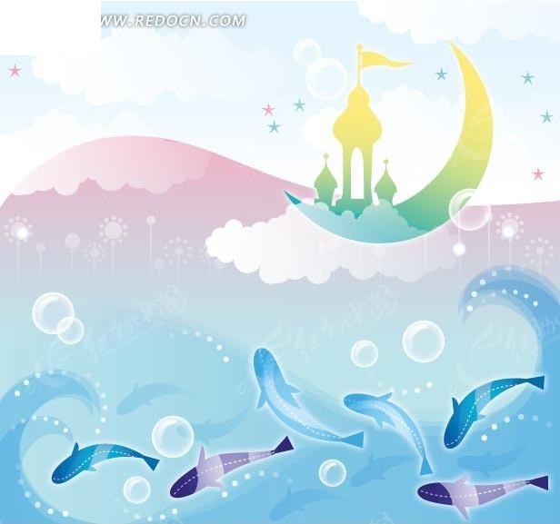 卡通画—月亮上的城堡和蓝色海浪以及鱼矢量图