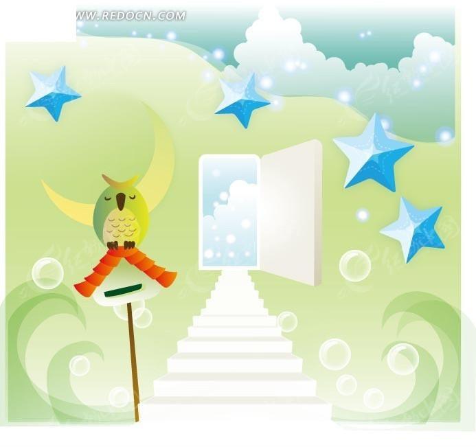 卡通画—信箱上的猫头鹰和花纹间的阶梯和打开的门
