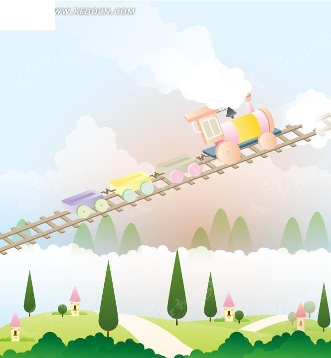 卡通画—草地上的道路绿树和轨道上的彩色火车