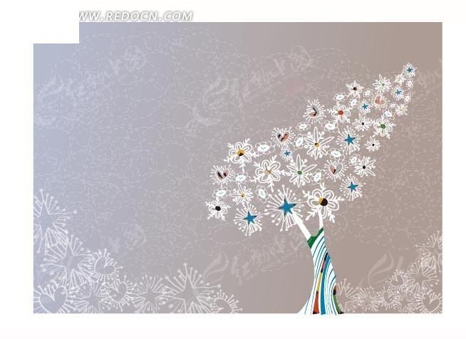 长满花朵和心形以及五角星的叶形树木插画矢量图