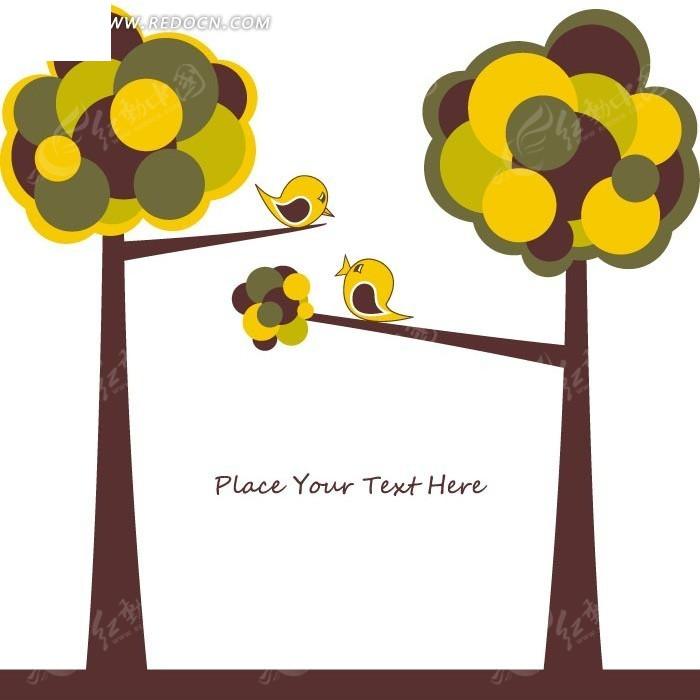 卡通植物 黄色树木树枝上的可爱小鸟