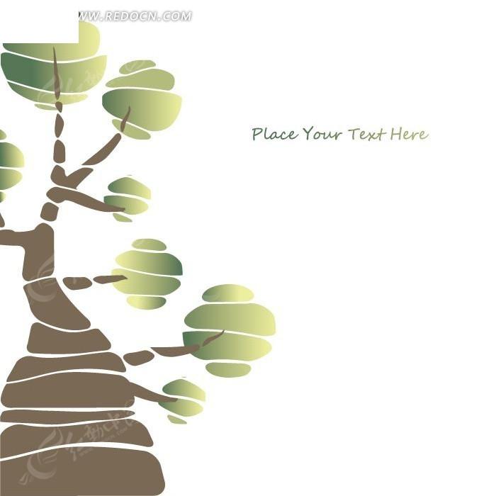 免费素材 矢量素材 花纹边框 印花图案 卡通植物 绿色树叶的大树