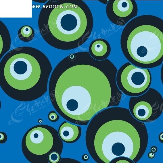 蓝色背景黑色绿色白色圆环图案