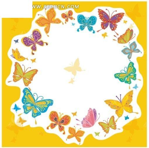 白色边框 黄色背景 彩色蝴蝶 插画 边框 相框 矢量素材