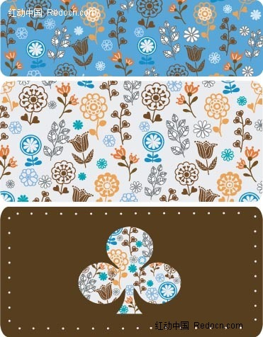 可爱小花叶子装饰的梅花背景