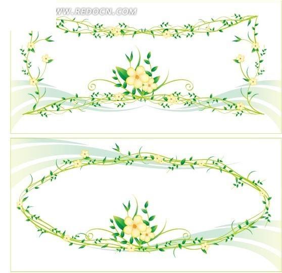 绿色花朵叶子边框背景EPS免费下载 印花图案素材