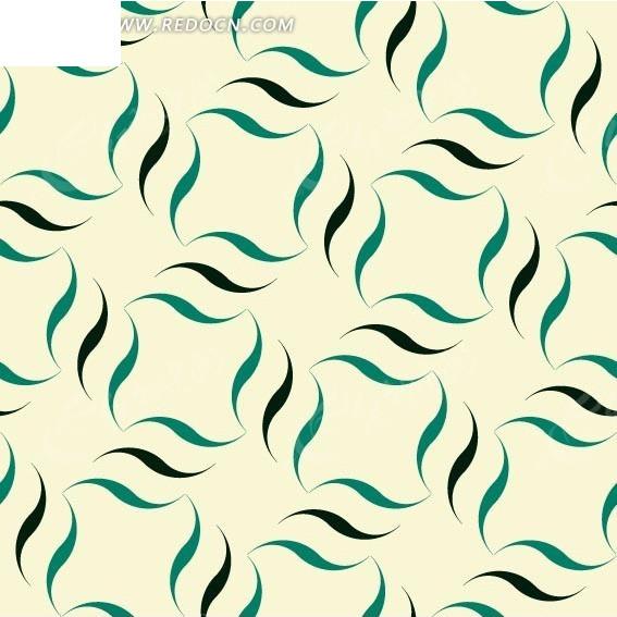 米白色背景上的叶子图形构成的图案矢量图_花纹花边