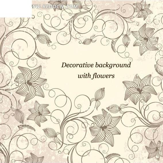 围绕文本的手绘枝条和花朵以及花苞