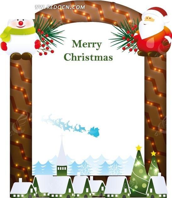 手绘缤纷亲和雪人圣诞贺卡_边框相框_红动手机版