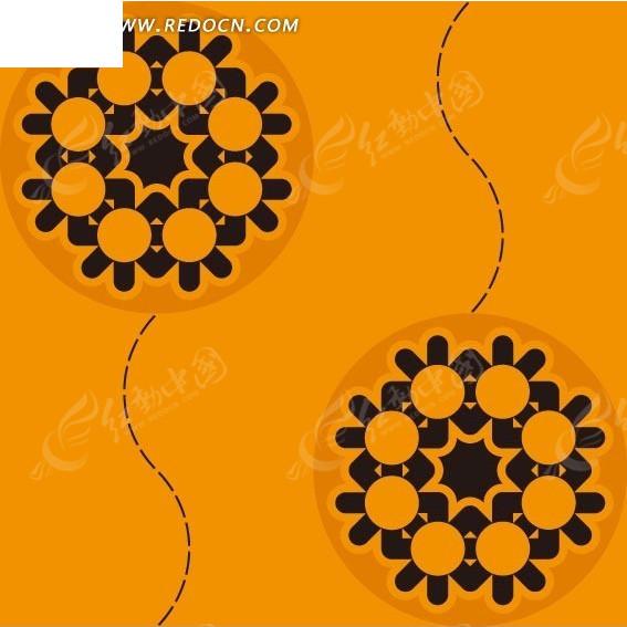 橘色背景上黑虚线和红色圆里的黑色花朵构成的图案