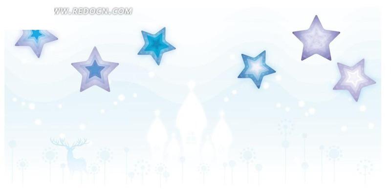 梦幻 星星 五角星 花纹花边 底纹边框 时尚背景 涂鸦 流行元素 矢量