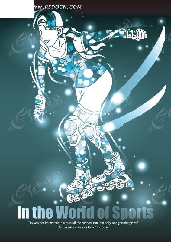 蓝色背景上的手绘轮滑运动员