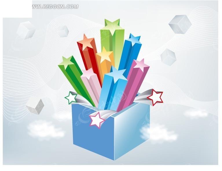 礼物盒里蹦出的立体五角星和正方体