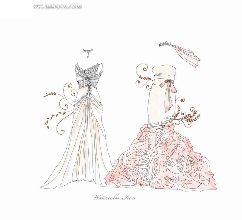 好看的裙子 连衣裙手绘
