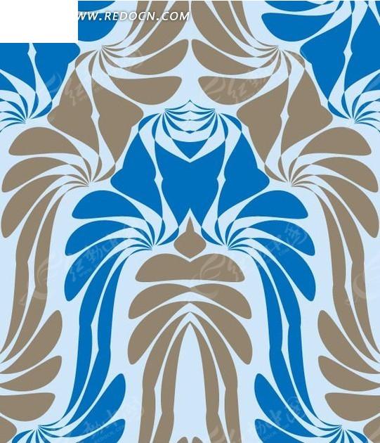 淡绿色背景上的灰色花纹和蓝色花朵构成的图案