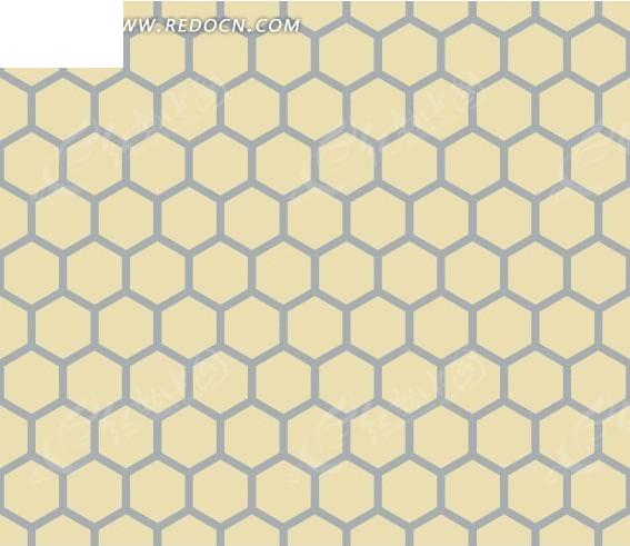 底纹—黄色背景上的蓝色六边形构成的蜂窝图案