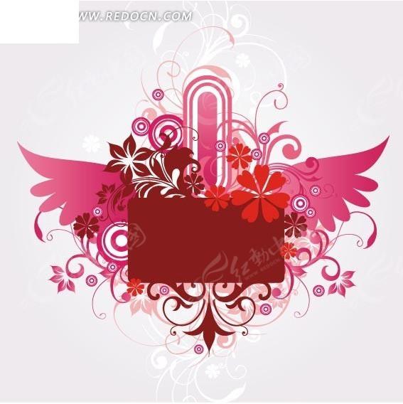 插画翅膀 枝条 花朵 同心圆 植物 红色圆角矩形  花纹 花纹素材 花边