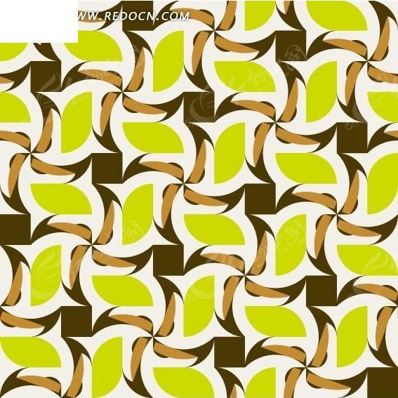 叶子形风车形和方形构成的图案eps免费下载_花纹花边