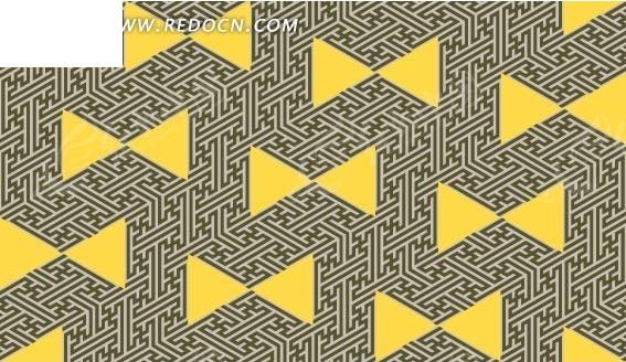 几何图形背景黄色三角形图案图片