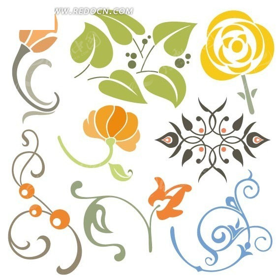 手绘卡通花朵花纹素材