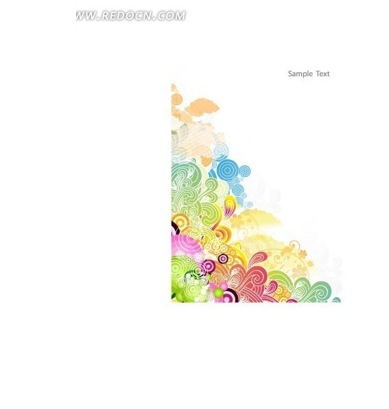 时尚底纹 彩色圆圈 彩色卷曲 精美花纹 矢量素材 印花图案