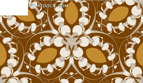 免费素材 矢量素材 花纹边框 印花图案 > 棕色背景上叶子和缠绕的叶形