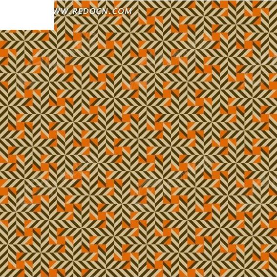 橘色背景上的平行四边形构成的图案