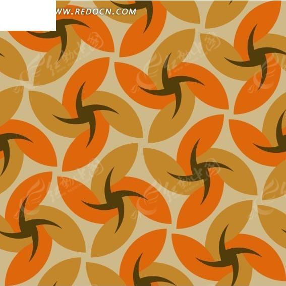 免费素材 矢量素材 花纹边框 印花图案 淡褐色背景上棕色橘色褐色风车