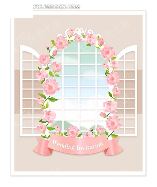 欧式窗户和花朵矢量背景素材图片