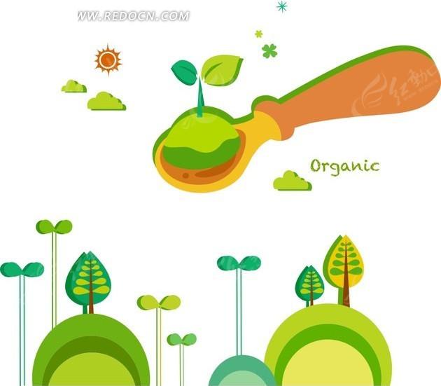 卡通插画绿色山坡树木和勺子的绿色幼苗