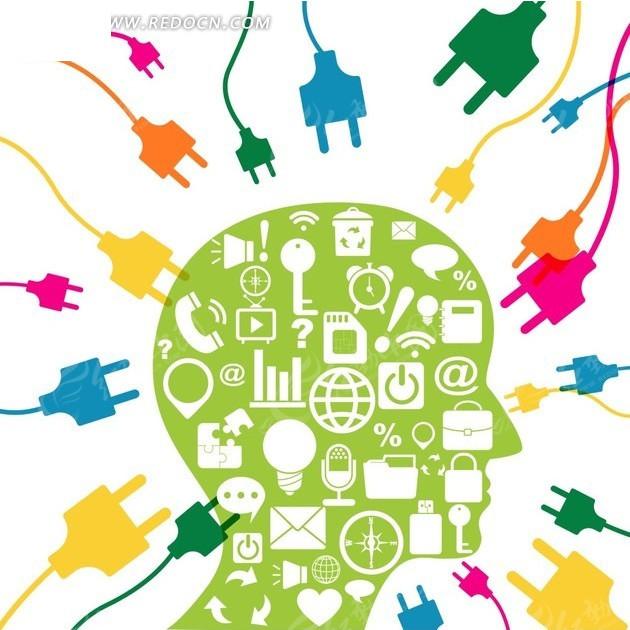 五颜六色的插头和图标构成的绿色人物头部