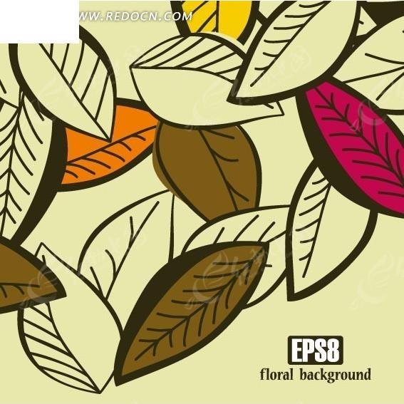手绘卡通线条树叶背景素材