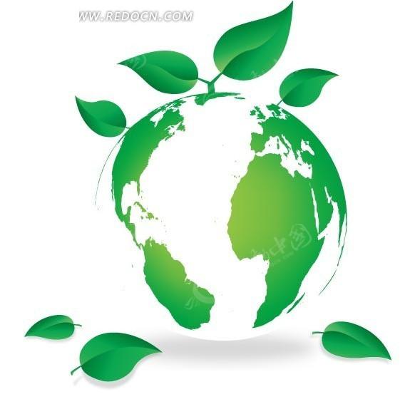 环保图标插画长出绿叶的清新地球仪