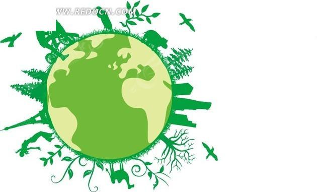 地球 高楼 人 枝条 植物 飞鸟 插画 绿色环保插画 风景图片 自然风光