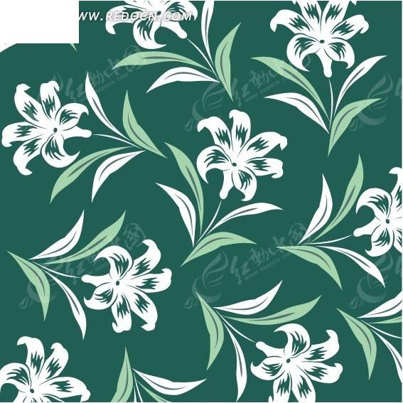 绿色背景上的叶子和百合花构成的图案