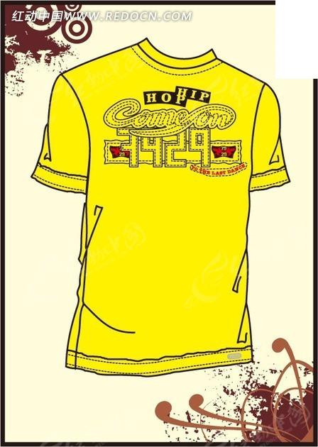 黄色字体设计t恤图案设计素材图片