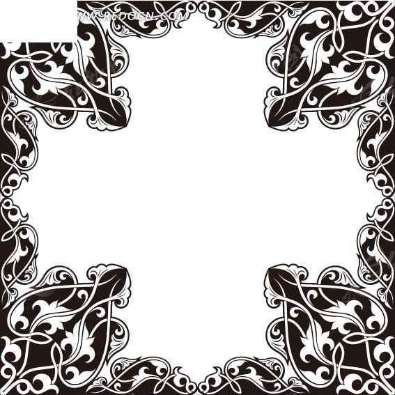 免费素材 字体下载 矢量字体 英文字体 黑白花边十字框eps矢量文件