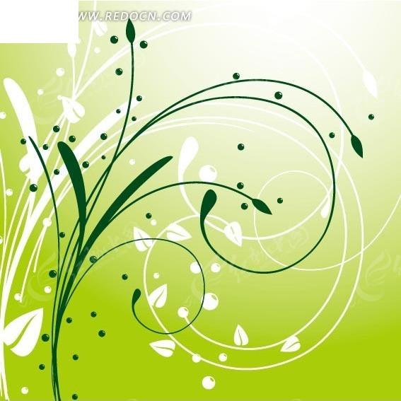 绿色清新白色卷曲植物叶子图案