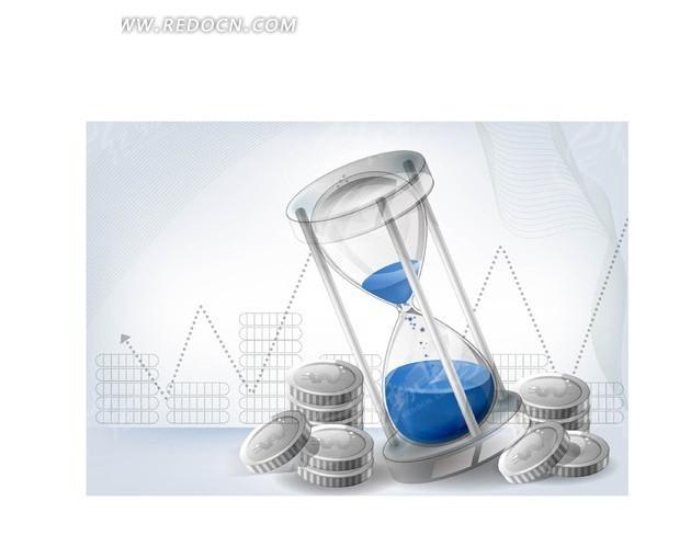 矢量插画曲线走势图前的银币和沙漏矢量图_现代商务