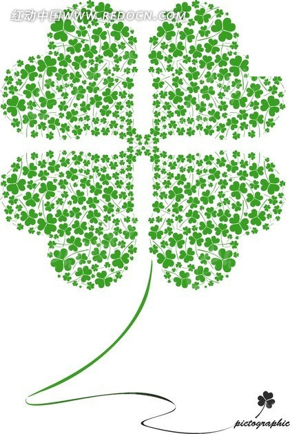 绿色四叶草构成的四叶草插画图片