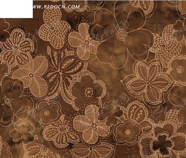 咖啡色背景上的花朵构成的图案