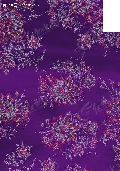 紫色底精美枝条和花朵背景素材psd素材
