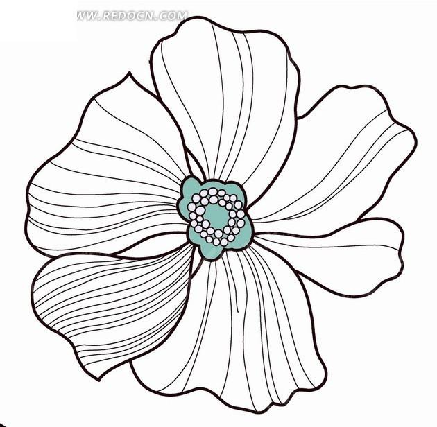 手绘黑色线条的花朵psd分层素材